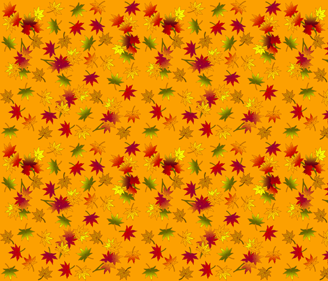Autumn Leaves in Wild Orange © seasparkles 2013 fabric by seasparkles on Spoonflower - custom fabric