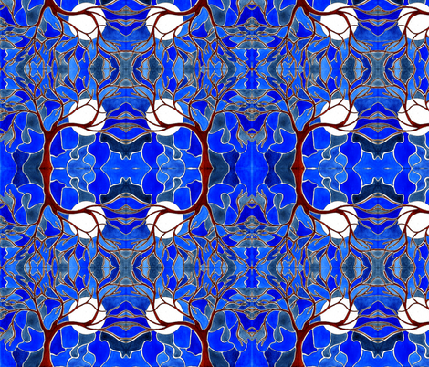 Tree and moon in blue fabric by martaharvey on Spoonflower - custom fabric