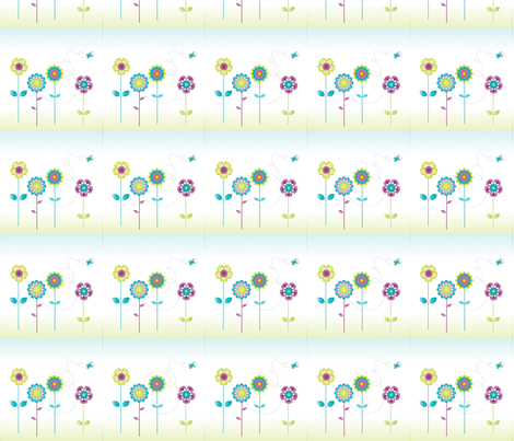 Summer Flower Fields fabric by mebeutt on Spoonflower - custom fabric