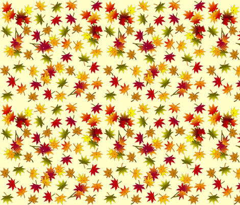 Small Autumn Leaves in Straw © seasparkles 2013 fabric by seasparkles on Spoonflower - custom fabric