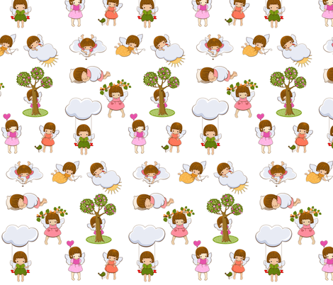 Angels fabric by yaskii on Spoonflower - custom fabric