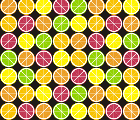 Citrus Segment Polka Dot Black fabric by smuk on Spoonflower - custom fabric