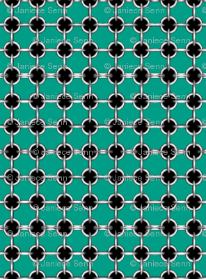 "5/8"" faux grommets on teal"