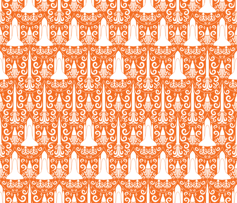 Rocket Science Damask (Orange) fabric by robyriker on Spoonflower - custom fabric