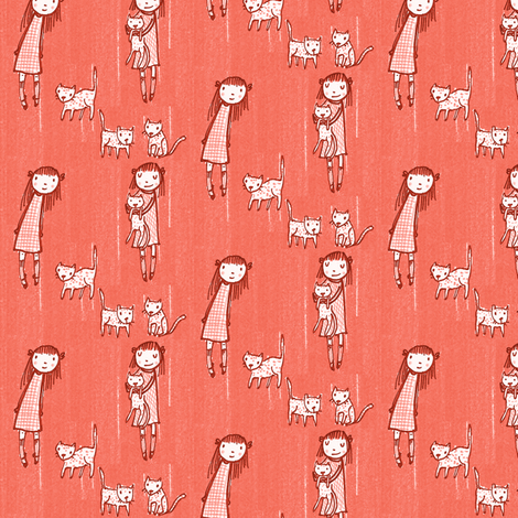 Cat Collector (melon)  fabric by anda on Spoonflower - custom fabric