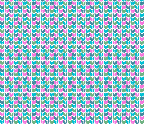 Tulip Knit (Blue Green Pink Teal) fabric by beththompsonart on Spoonflower - custom fabric