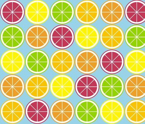 Citrus Segment Polka Dot Blue fabric by smuk on Spoonflower - custom fabric