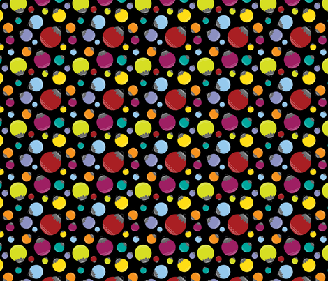 Holly Jolly Balls {Black} fabric by printablegirl on Spoonflower - custom fabric