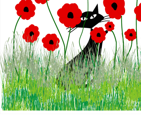Black Cat and Poppies fabric by egnatz on Spoonflower - custom fabric