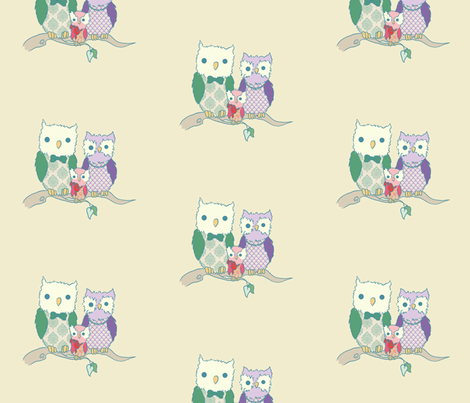 Owl Family 2 fabric by littlemoondance on Spoonflower - custom fabric
