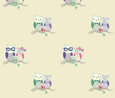 Owl Families fabric by gabriellejz on Spoonflower - custom fabric