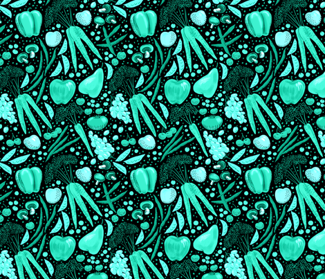 Farmer's Market Bounty Aqua fabric by vinpauld on Spoonflower - custom fabric