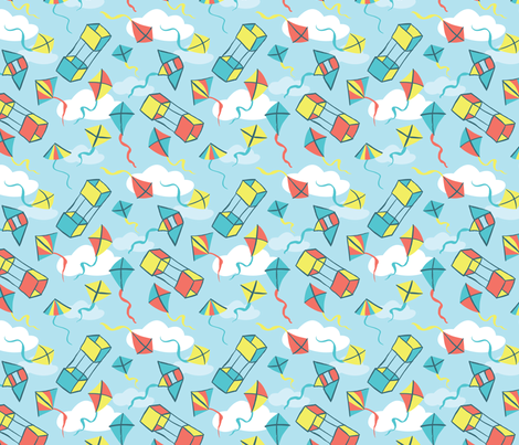 Fly a Kite - Summer Sky fabric by hugandkiss on Spoonflower - custom fabric