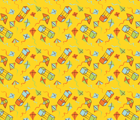 Fly a Kite - Golden Sun fabric by hugandkiss on Spoonflower - custom fabric