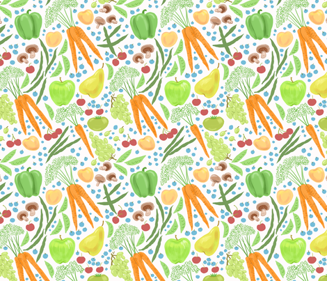 Farmer's Market Bounty White fabric by vinpauld on Spoonflower - custom fabric