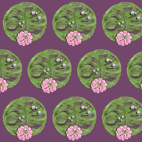 Lily Pads in Bloom small scale (purple background) fabric by amy_g on Spoonflower - custom fabric