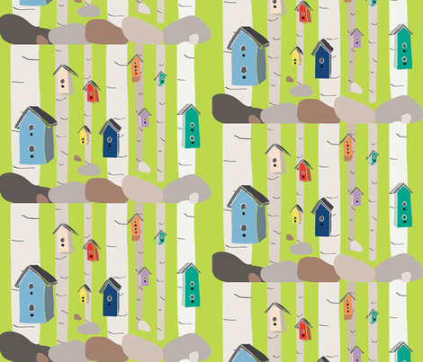 Birdhouse Forest fabric by owlandchickadee on Spoonflower - custom fabric