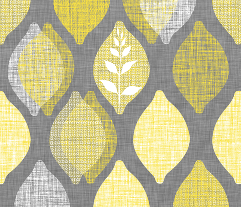 Amalfi Lemon Linen.Graphite fabric by spellstone on Spoonflower - custom fabric