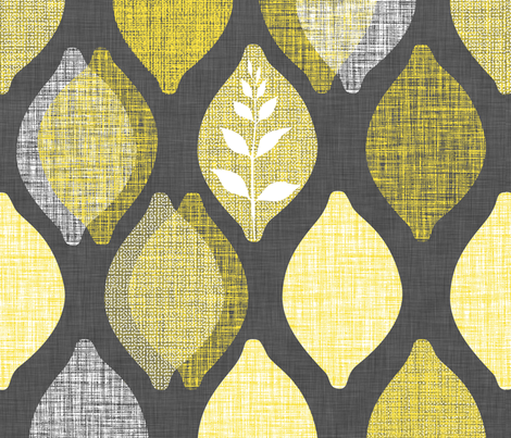 Amalfi Lemon Linen.Charcoal fabric by spellstone on Spoonflower - custom fabric