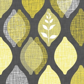 Amalfi Lemon Linen.Charcoal