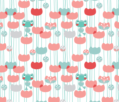 waterlily-frog-pattern fabric by elodie-lauret on Spoonflower - custom fabric