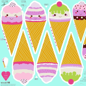 ice cream cut and sew set of 4 ice creams