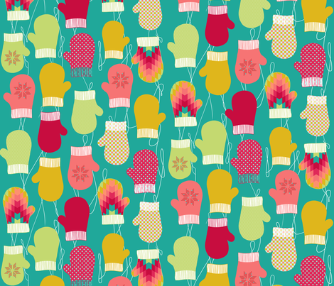 Colorful Holiday mittens fabric by katarina on Spoonflower - custom fabric