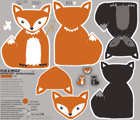 fox and wolf baby DIY soft plush toys fabric by katarina on Spoonflower - custom fabric