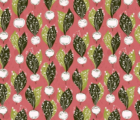 radishes - pink / white / green fabric by circlealine on Spoonflower - custom fabric