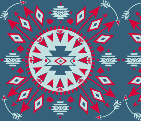 Navajo Arrows -- Denim background w. lt aqua fabric by fable_design on Spoonflower - custom fabric