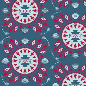 Navajo Arrows -- Denim background w. lt aqua