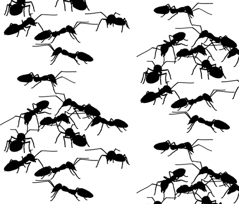 Black Picnic Ants fabric by animotaxis on Spoonflower - custom fabric