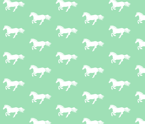 White Pony in Mint, Larger fabric by thistleandfox on Spoonflower - custom fabric