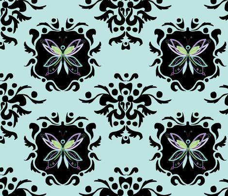 Butterfly-Damask-Wallpaper-Turquoise fabric by jennifer_borek on Spoonflower - custom fabric