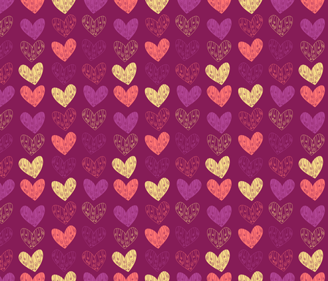 Doodled Hearts fabric by majobv on Spoonflower - custom fabric