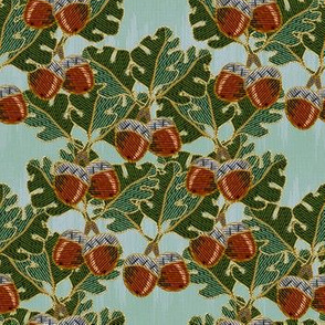 embroidered oak and acorns
