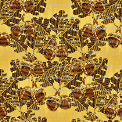 embroidered oak_and acorns golden oak