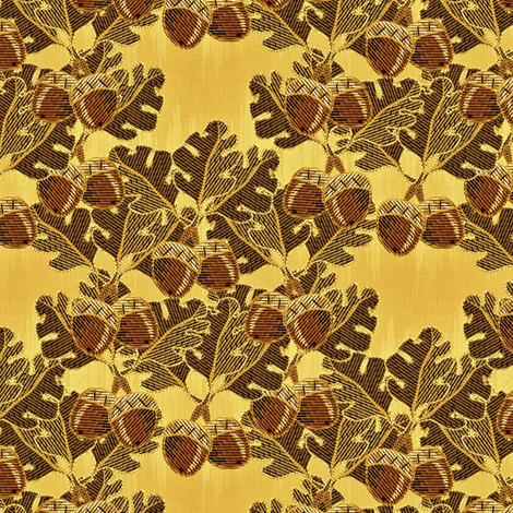 embroidered oak_and acorns golden oak fabric by glimmericks on Spoonflower - custom fabric