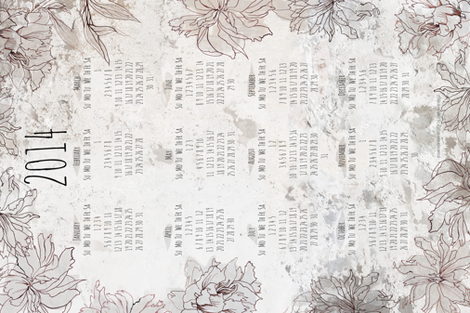 Tea towel - calendar 2014 fabric by katarina on Spoonflower - custom fabric