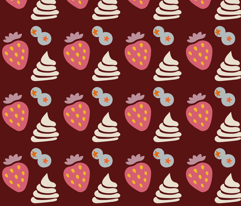 Berries and Cream (dark) fabric by melbity on Spoonflower - custom fabric