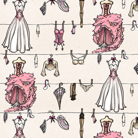 Old school pink wedding fabric by loeff on Spoonflower - custom fabric