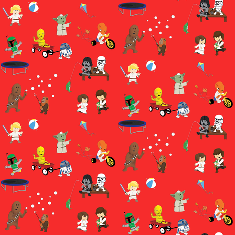 Star Wars Kids - Red fabric by nixongraphix on Spoonflower - custom fabric