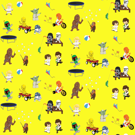 Star Wars Kids - Yellow fabric by nixongraphix on Spoonflower - custom fabric