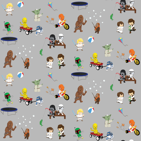 Star Wars Kids - Gray fabric by nixongraphix on Spoonflower - custom fabric