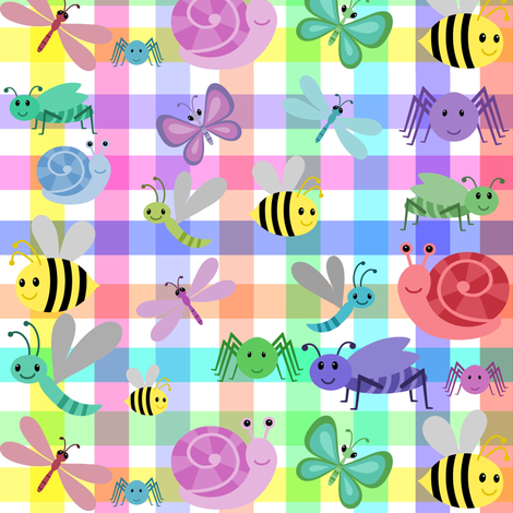 RAINBOW GINGHAM CRITTERS fabric by bluevelvet on Spoonflower - custom fabric