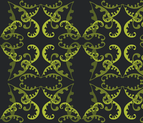 Fern Lattice on Black fabric by linda_santell on Spoonflower - custom fabric