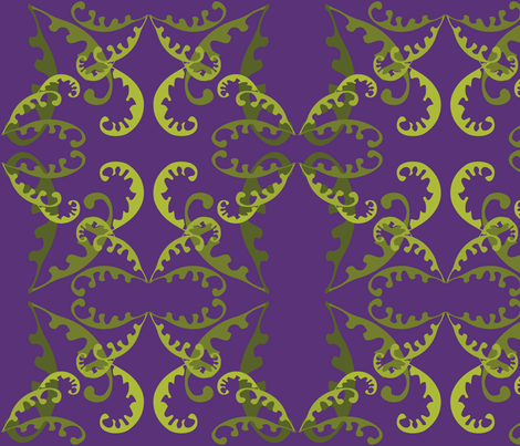 Fern Lattice on Purple fabric by linda_santell on Spoonflower - custom fabric
