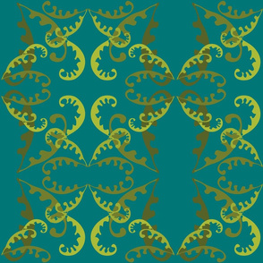 Fern Lattice on Sea Green
