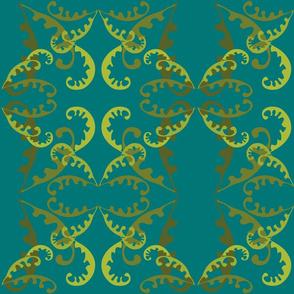 Fern Lattice on Sea Green