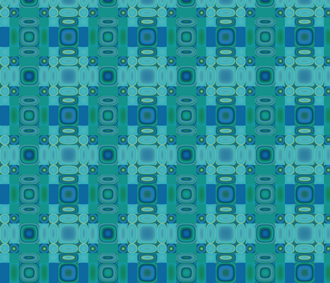 Bluegreen Oval Mosaic © Gingezel™ 2013 fabric by gingezel on Spoonflower - custom fabric